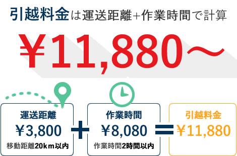 引っ越し料金 11,880~